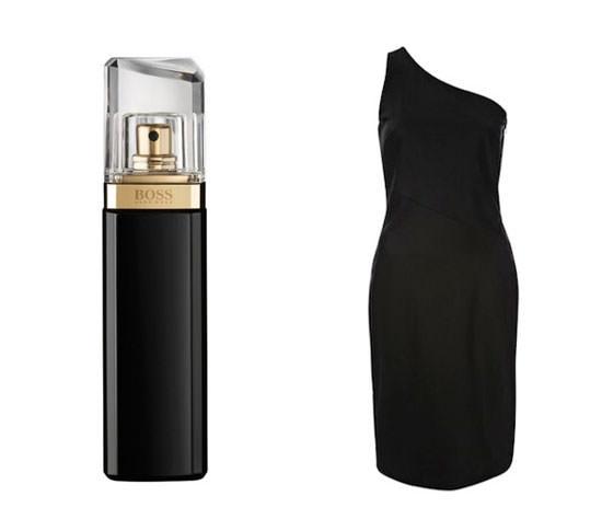 frasco y vestido asimétrico del spot de Boss Nuit Pour Femme