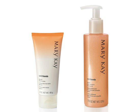 exfoliante y la crema Satin Hands