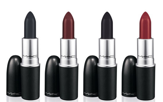 Studded Kiss dark oxblood red, Instigator Deep blackened plum, Hautecore true matte black y Punk Couture Deep blackened grape