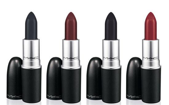 Studded Kiss dark oxblood red, Instigator Deep blackened plum, Hautecore true matte black y Punk Couture Deep blackened grape