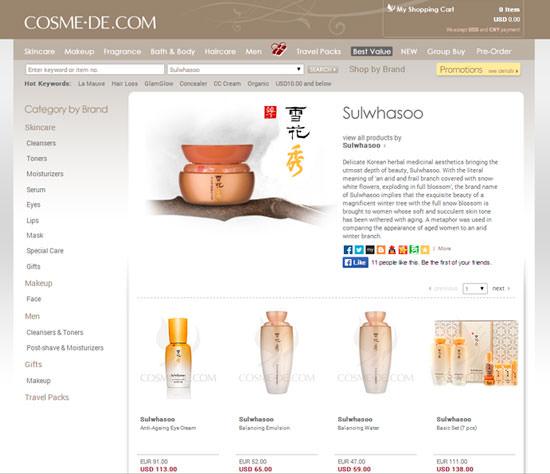 pantallazo página de Cosme-De