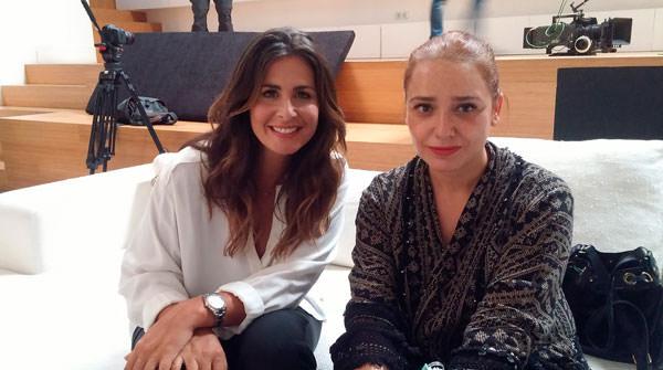 Nuria con Arantza en el rodaje del spot