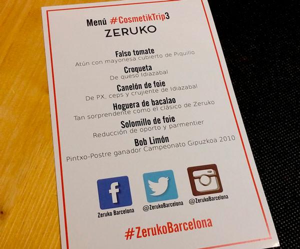 menú personalizado del Zeruko Barcelona para el CosmetikTrip3